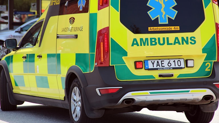 Baksidan på en ambulans.