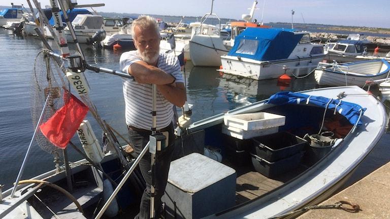Krister Torhamn och hans fiskarbåt.