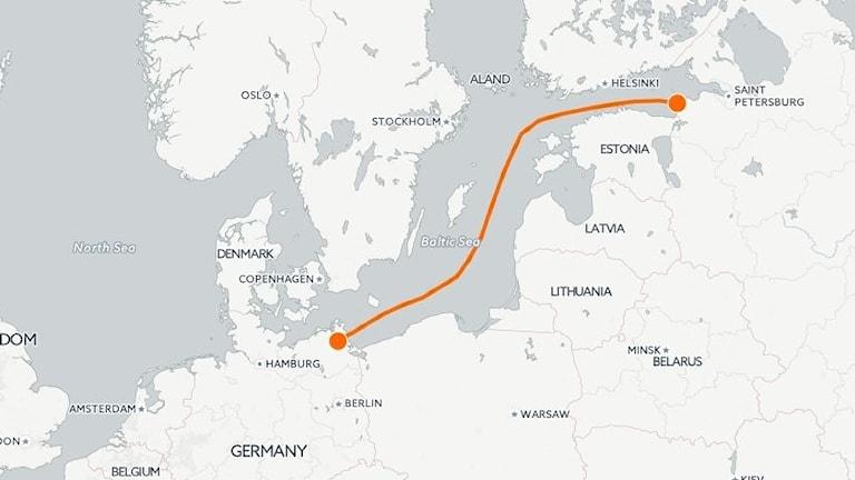 En karta som visar hur Nord Stream 2 ska gå.