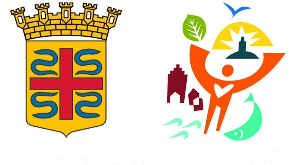 Ett kollage med en bold på sölvesborgs stadsvapen och på den nya logotypen.