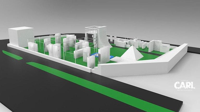 3D-ritningar på den blivande parkourparken