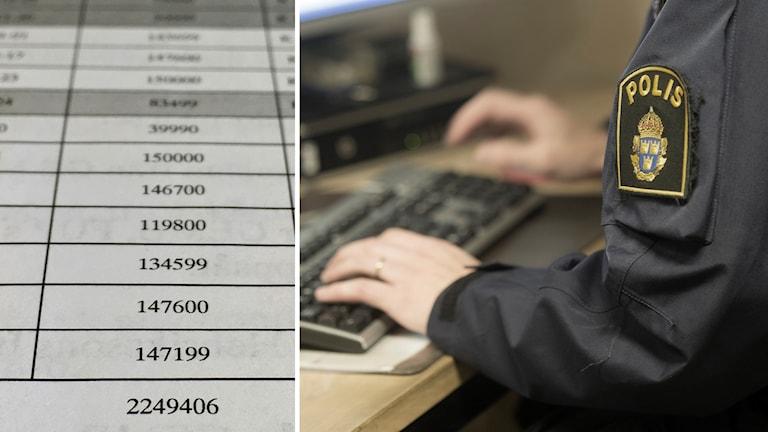 Polis vid dator och siffror på papper.