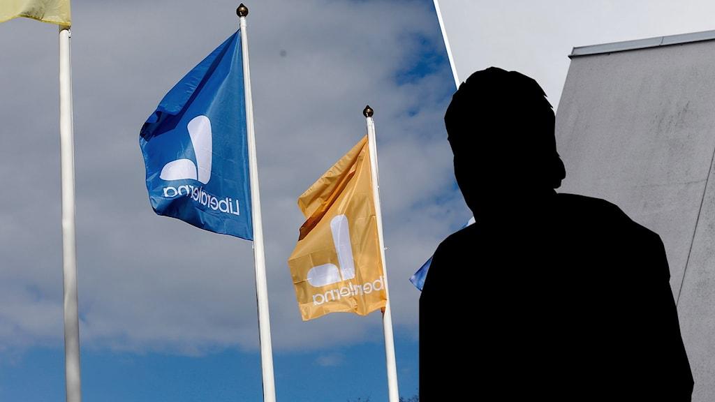 Flaggor prydda med Liberalernas logotyp.