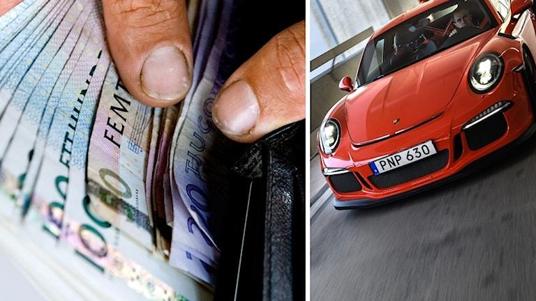 En plånbok med pengar och en röd porsche.