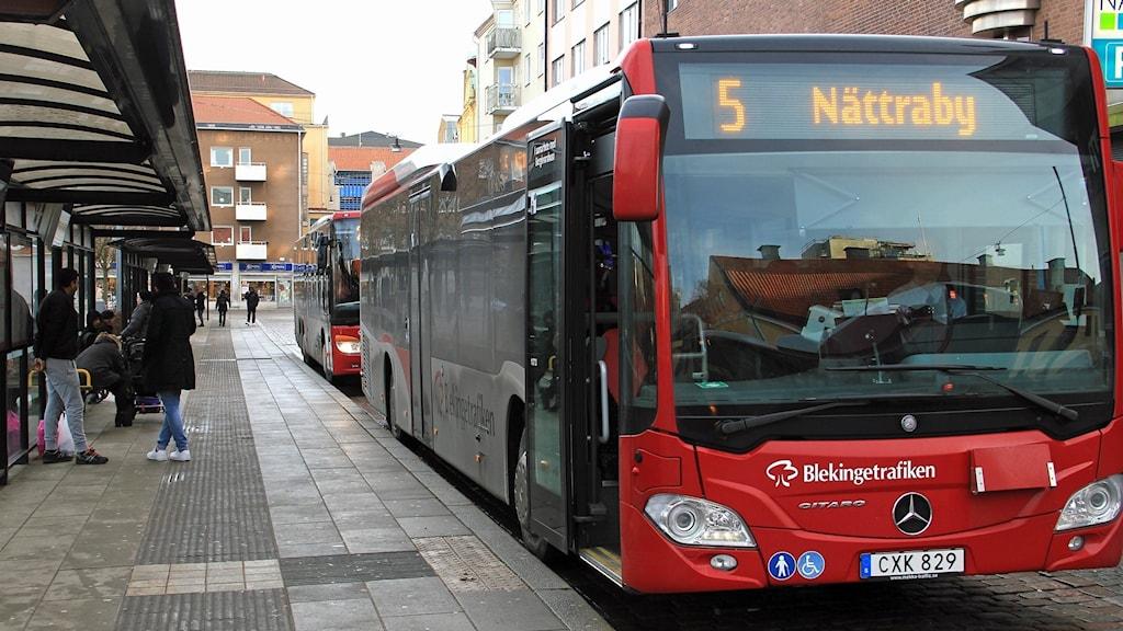 Bussar i centrala Karlskrona.