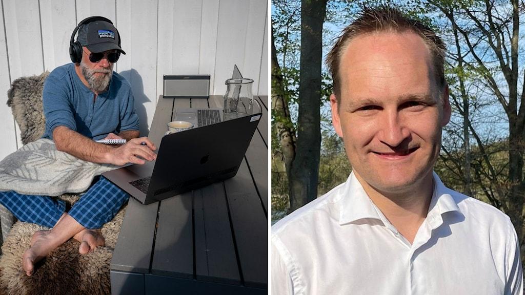 BIldmontage. Till vänster, man som sitter utomhus i keps och solglasögon och jobbar. Till höger mäklaren Tobias Nordling.