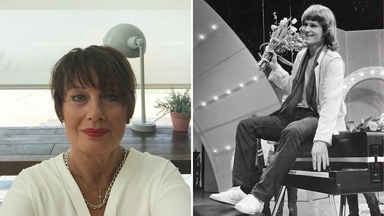 Ett kollage med bilder på Jessica Evasdotter och Ted Gärdestad