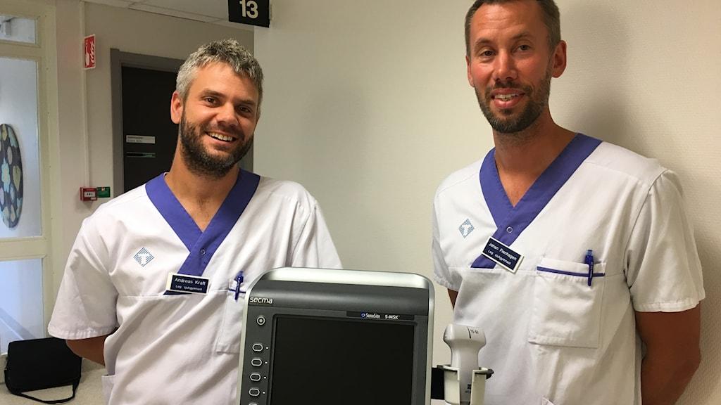 Andreas Kraft och Johan Flenhagen sjukgymnaster