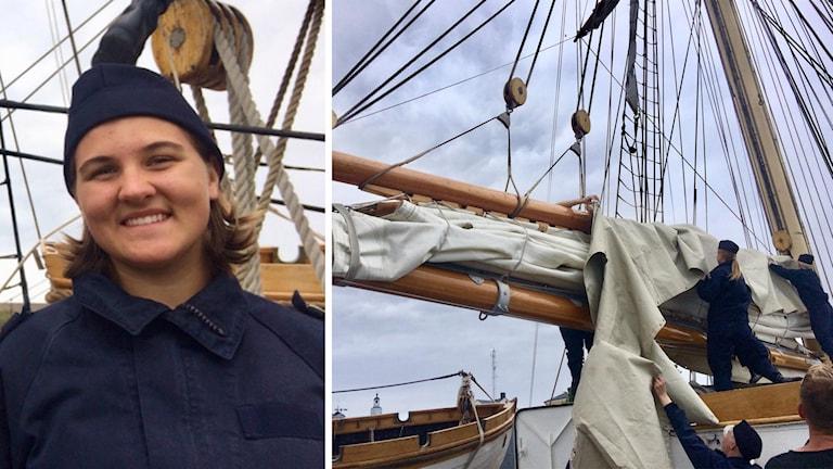 Emma Lindblad seglade med HMS Falken till Karlskrona.