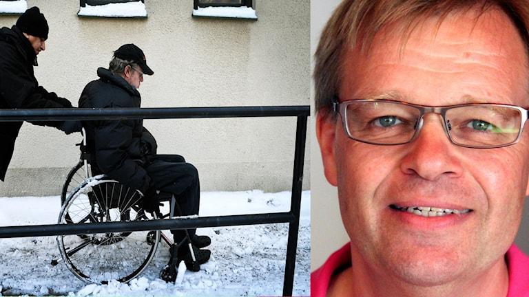 Ett kollage med bilder på Per-Ola Matsson och en man som skjutsar en annan man i rullstol.