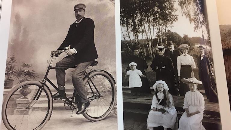 Till vänster J A Nilson själv på en cykel som var rekvisita, från sekelskiftet. Till höger tågutflykt 1908.