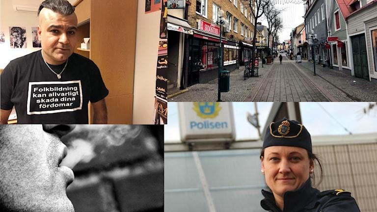 Ett kollage med bilder på Ronnebys gågata, Diyar Omer, och Caroline Gyberg.