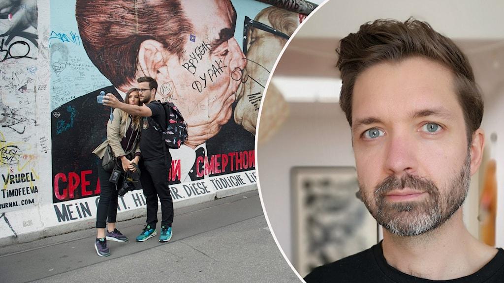 Arvid Jurjaks är infälld i en bild på Berlin East Side Gallery
