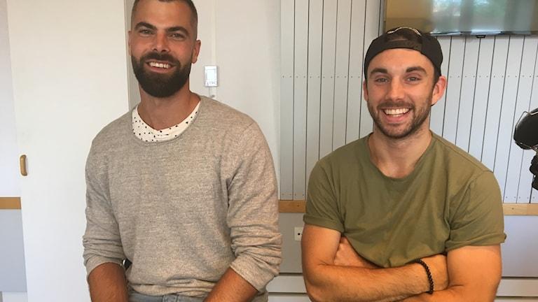 Tränare Karl-Johan Lång och spelare Gustaf Hallén