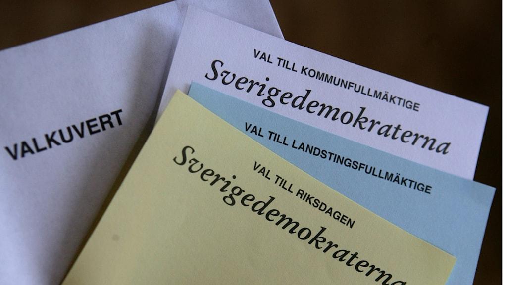 Röstsedlar för Sverigedemokraterna.