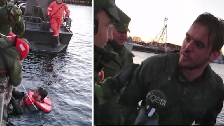 Niklas Sobieski vinterbadar på marinbasen i karlskrona