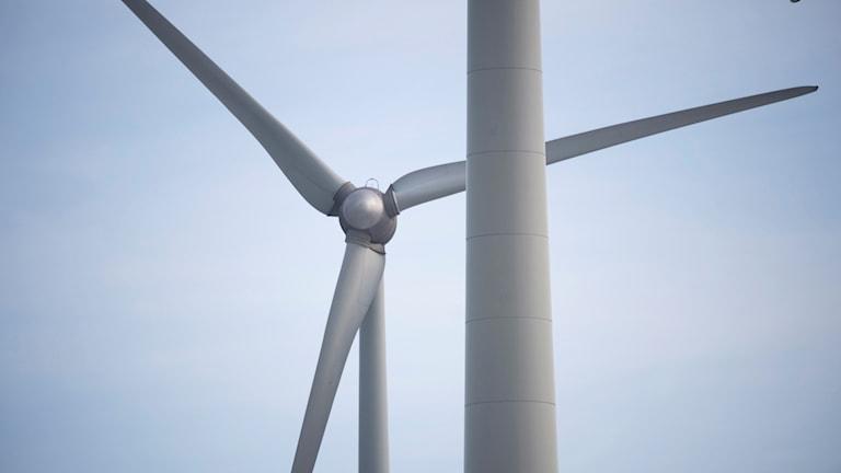 Ett vindkraftverk på nära håll.