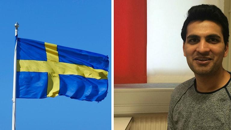 Svenska flaggan och Karlskronabon  Nanda Kishore Abbaraju, en av de över 60 000 nya svenska medborgarena.