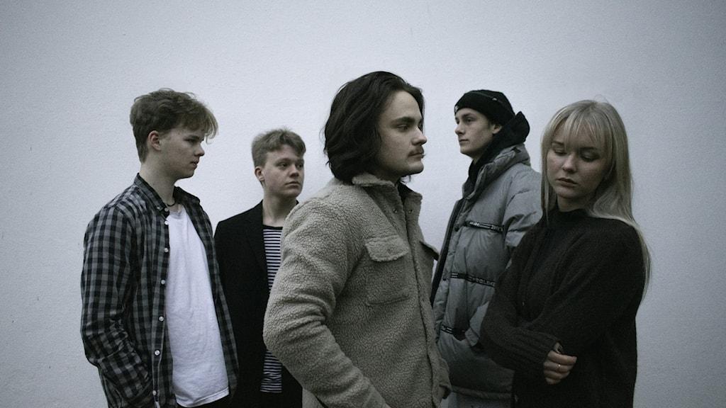 Bandet mot grynig grå bakgrund