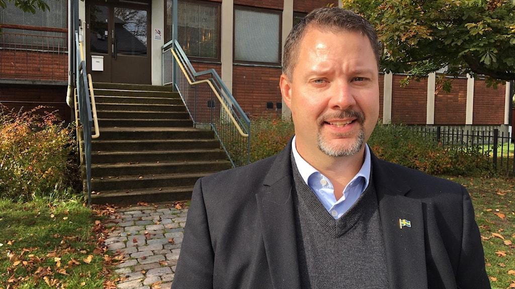 Sverigedemokraternas gruppledare i Karlskrona Christopher Larsson.