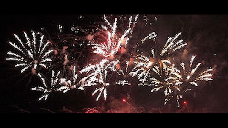Flera fyrverkerier exploderar i himmeln.
