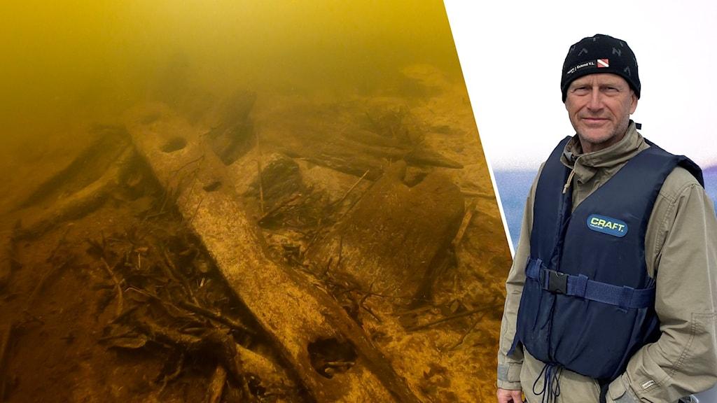 Fyndet samt dykare Mikael Björk från Blekinge Museum.
