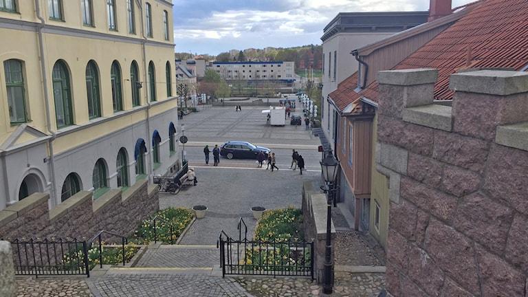 Trappan ner mot torget i Ronneby