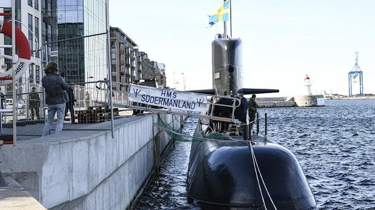 HMS Södermanland vid kaj. Foto: Johan Nilsson/TT
