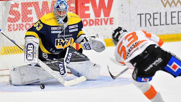 Karlskronaspelare skjuter puck mot HV71s målvakt