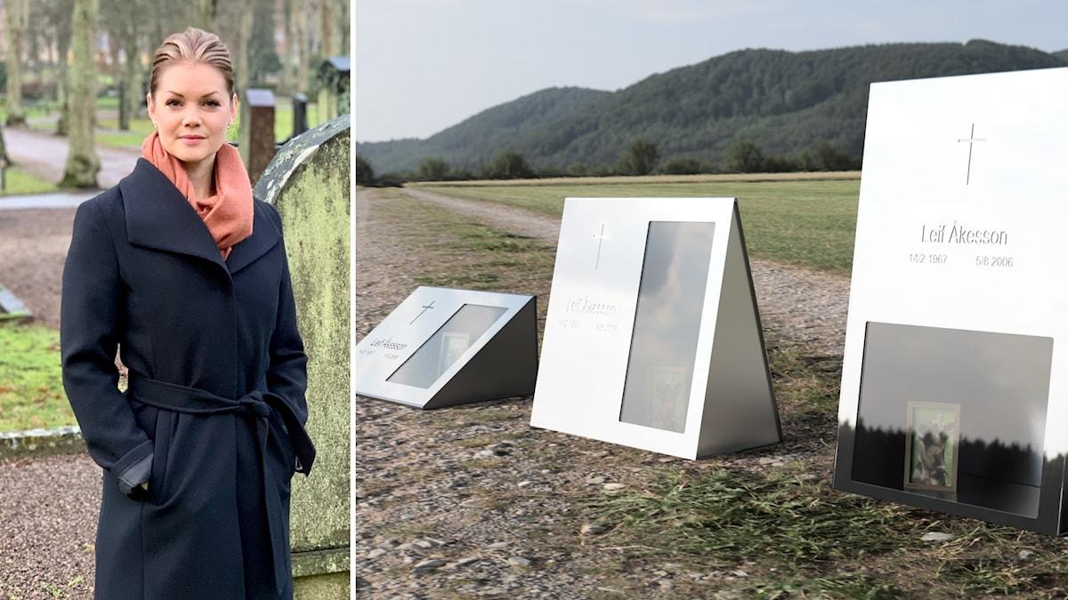 Linda Åkesson från Karlshamn vill förnya gravstensbranschen.