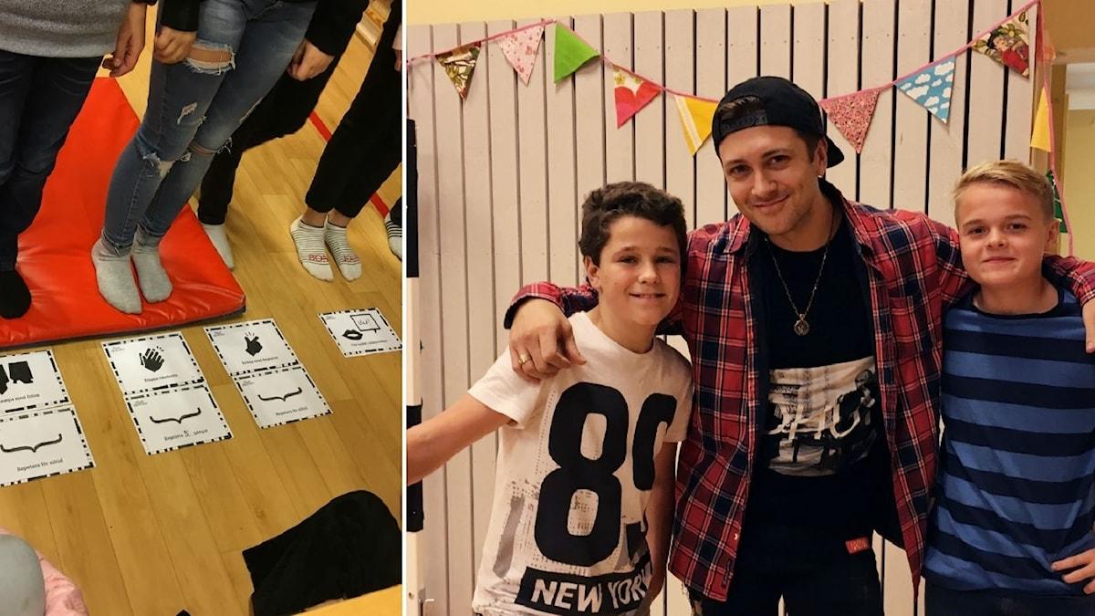 Ett kollage med bilder på barn som står på ett gympasalsgolv och så youtubern Vlad Reiser med två elever.