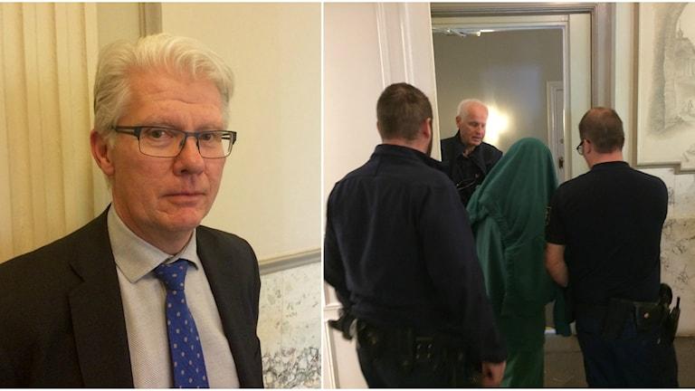 Ett kollage med bilder på  Torgny Palm och den åtalade mannen under en tröja.