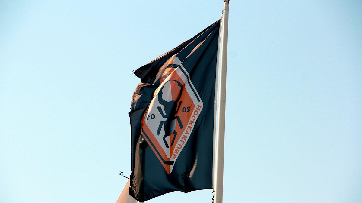 KHK:s svartvitröda flagga med en skalbagge på.