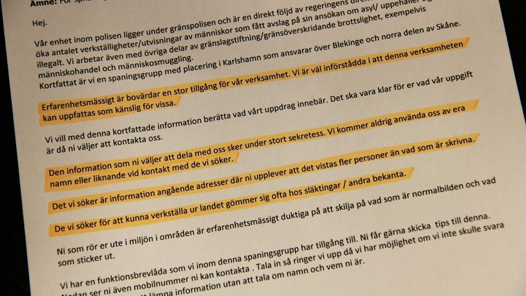 Delar av ett brev som gränspolisen skrivit