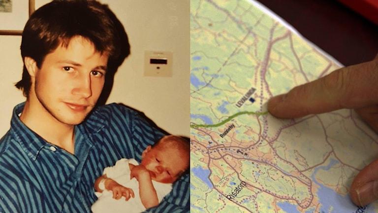 Ett kollage med en bild på Thomas Karlsson som håller sin nyfödda dotter och en karta på Levalunda där han mördades.