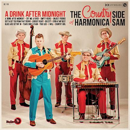 En bild på bandet The Country Side of Harmonica Sam där alla har cowboykostymer på sig.