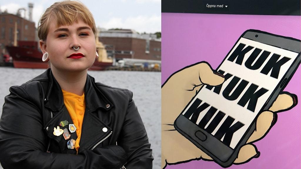 Ett kollage med bilder på Emelie Limér och en grafisk bild som hon gjort med ordet KUK på en mobilskärm.
