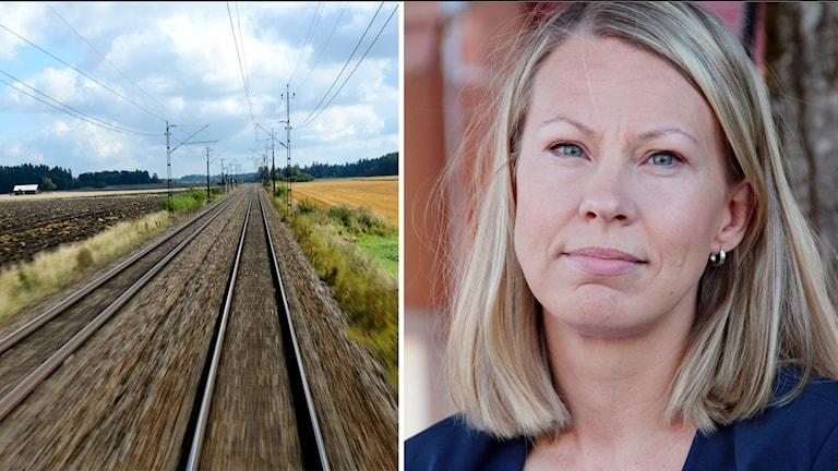 Ett kollage med en bild på ett tågspår och Sara Rudolfsson.