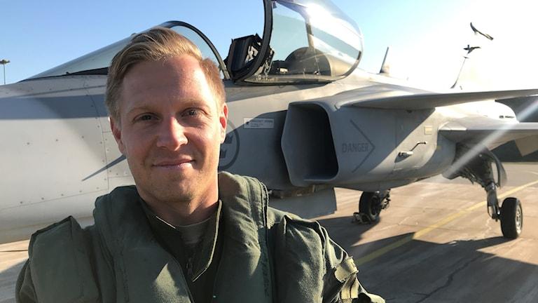 Henrik Nyström, Jas-pilot från F  17 i Kallinge ska på träningsläger.