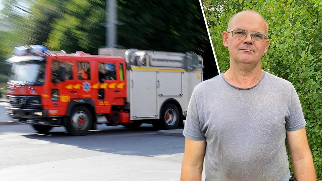 Brandbil åker och deltidsbrandmannen Krister Wahlström.