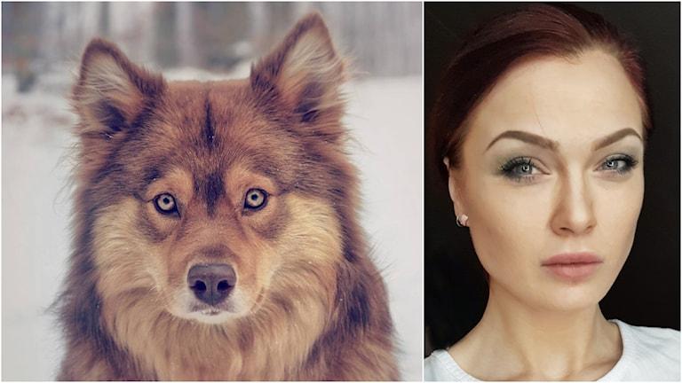 Två bilder på Hanna Klinteheim och hennes hund Eva.