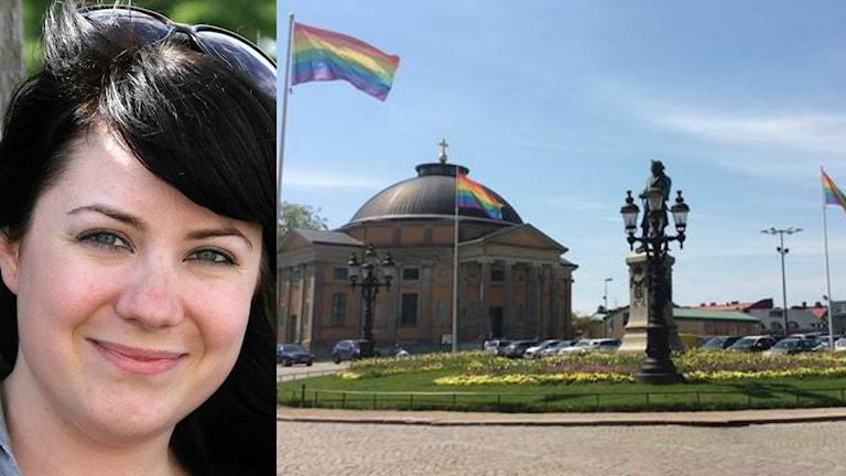 Ett kollage med en bild på Sofia Ahlin och på flaggor med pridefärgerna på Stortorget.
