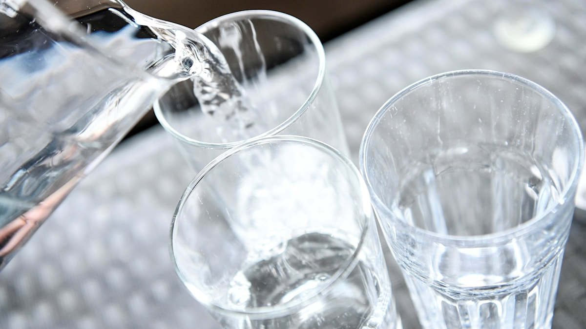 Flera glas med vatten och en tillbringare med vatten.