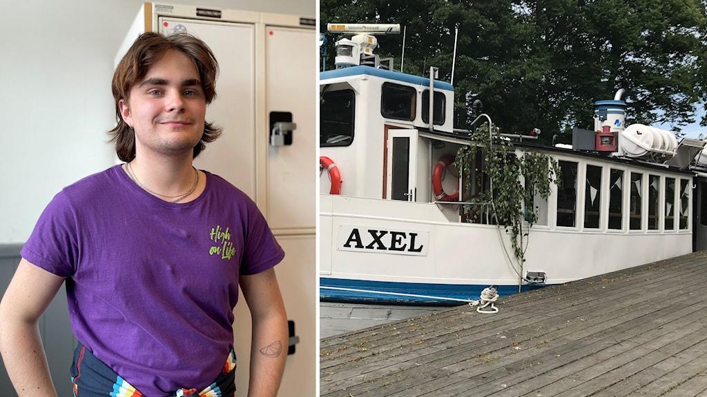 Bild på skärgårdsbåt tillsammans med student i Karlskrona.