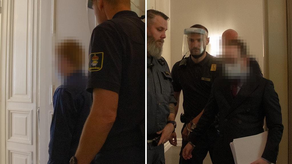De två dömda männen förs in i rättegångssalen.