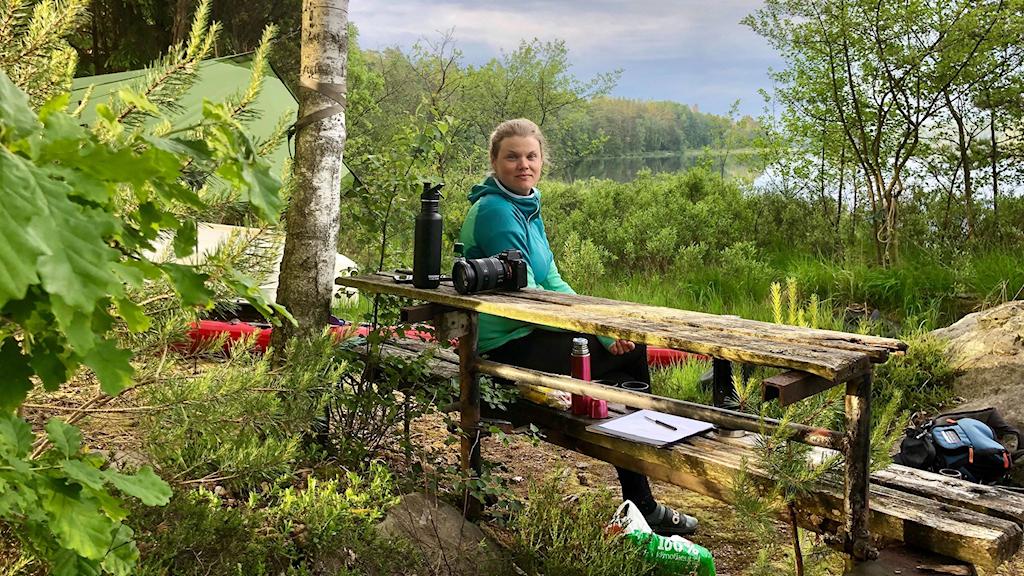 Äventyraren Linda Åkerberg vid Immeln.
