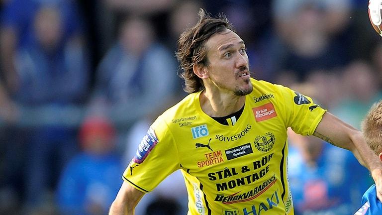 Daniel Ivanovski under en match med Mjällby.
