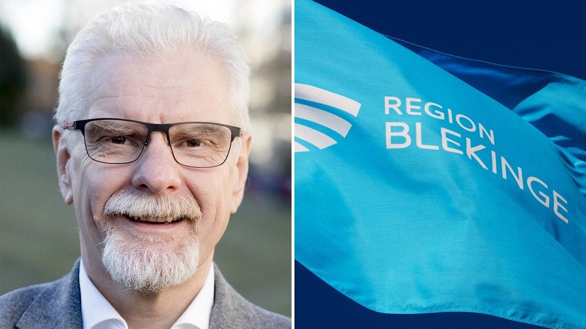 Porträttbild på Kjell Ivarsson och på en blå regionflagga.