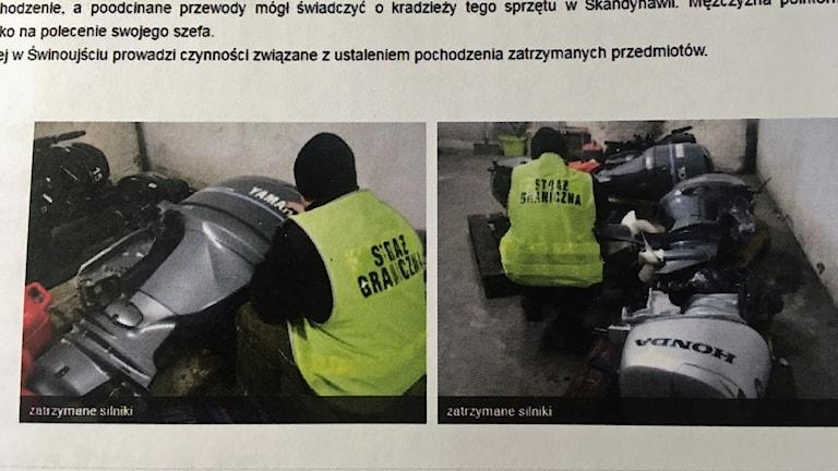 Polsk polis hittar de stulna båtmotorerna.