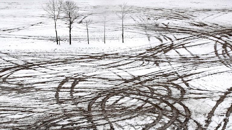 Någon har sladdat runt i snöslask